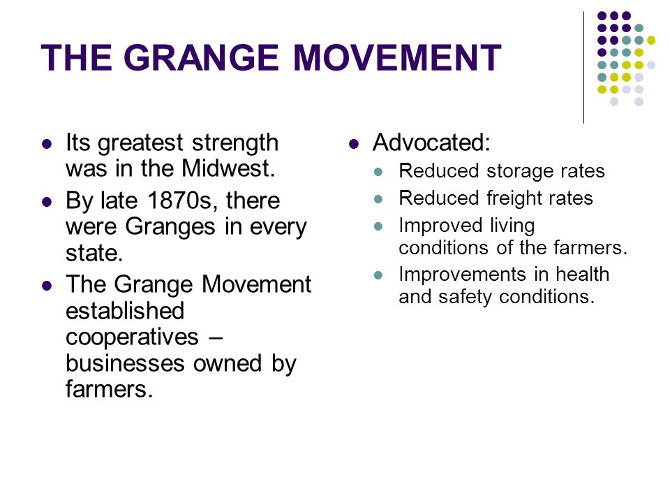 THE GRANGE MOVEMENT Its greatest strength was in the Midwest.