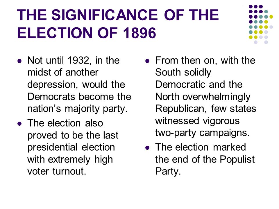 THE SIGNIFICANCE OF THE ELECTION OF 1896