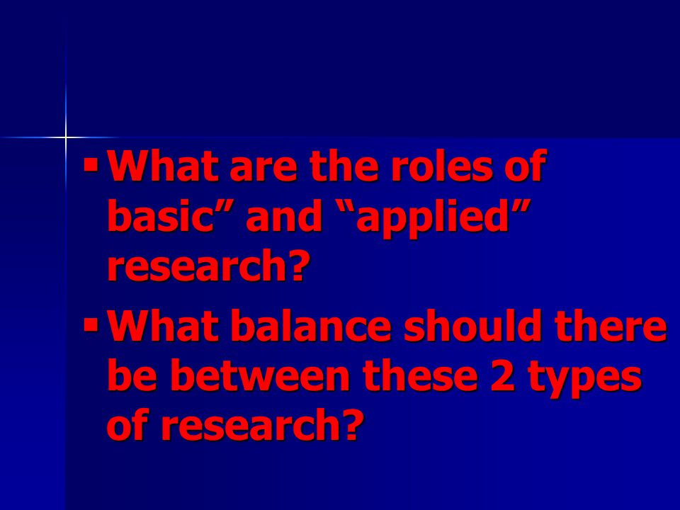 What are the roles of basic and applied research