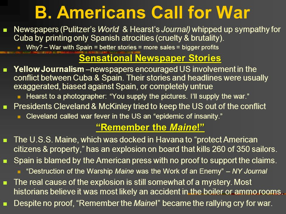 B. Americans Call for War