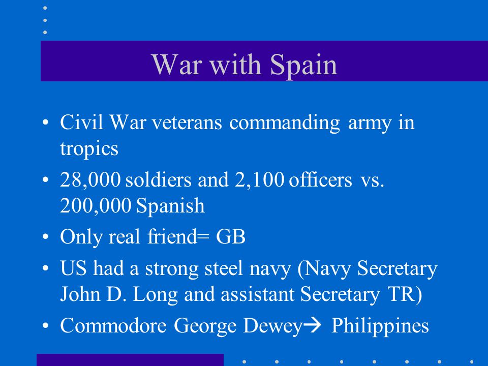 War with Spain Civil War veterans commanding army in tropics