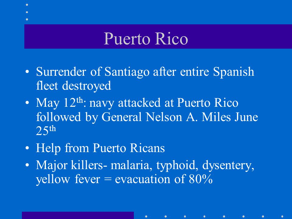 Puerto Rico Surrender of Santiago after entire Spanish fleet destroyed