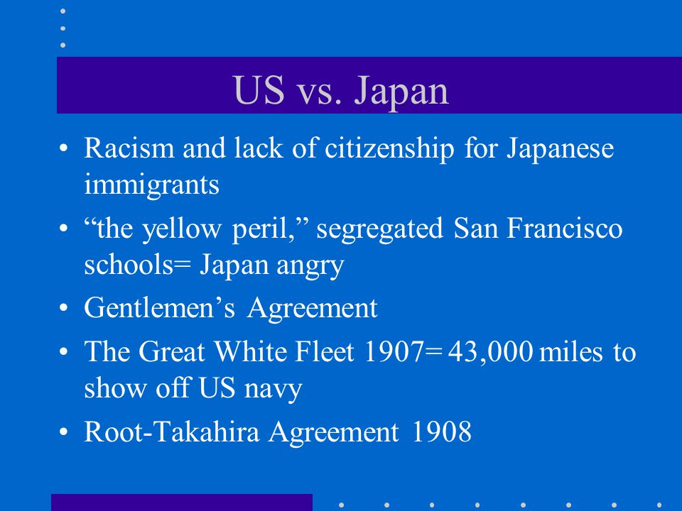 US vs. Japan Racism and lack of citizenship for Japanese immigrants