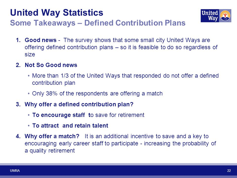 United Way Statistics Some Takeaways – Defined Contribution Plans