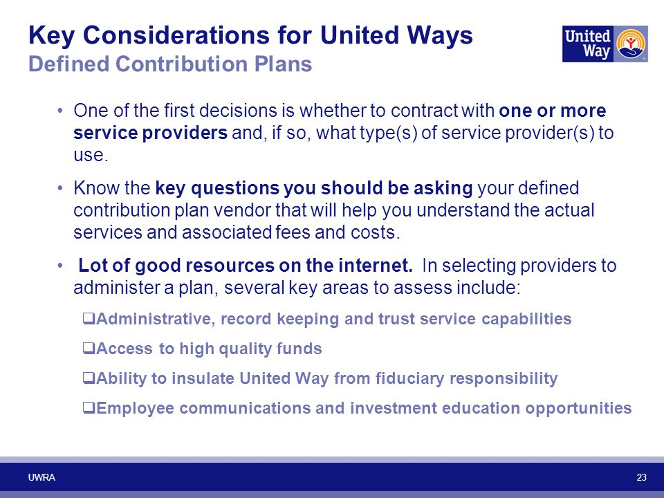 Key Considerations for United Ways Defined Contribution Plans