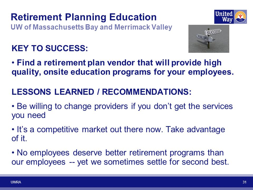 Retirement Planning Education UW of Massachusetts Bay and Merrimack Valley
