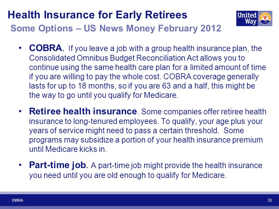 Health Insurance for Early Retirees Some Options – US News Money February 2012