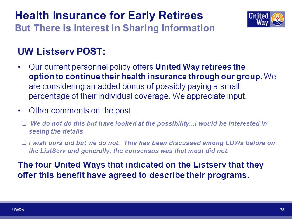 Health Insurance for Early Retirees But There is Interest in Sharing Information