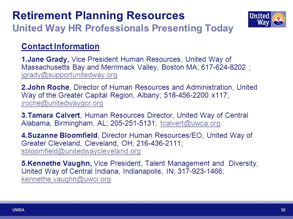 Retirement Planning Resources United Way HR Professionals Presenting Today