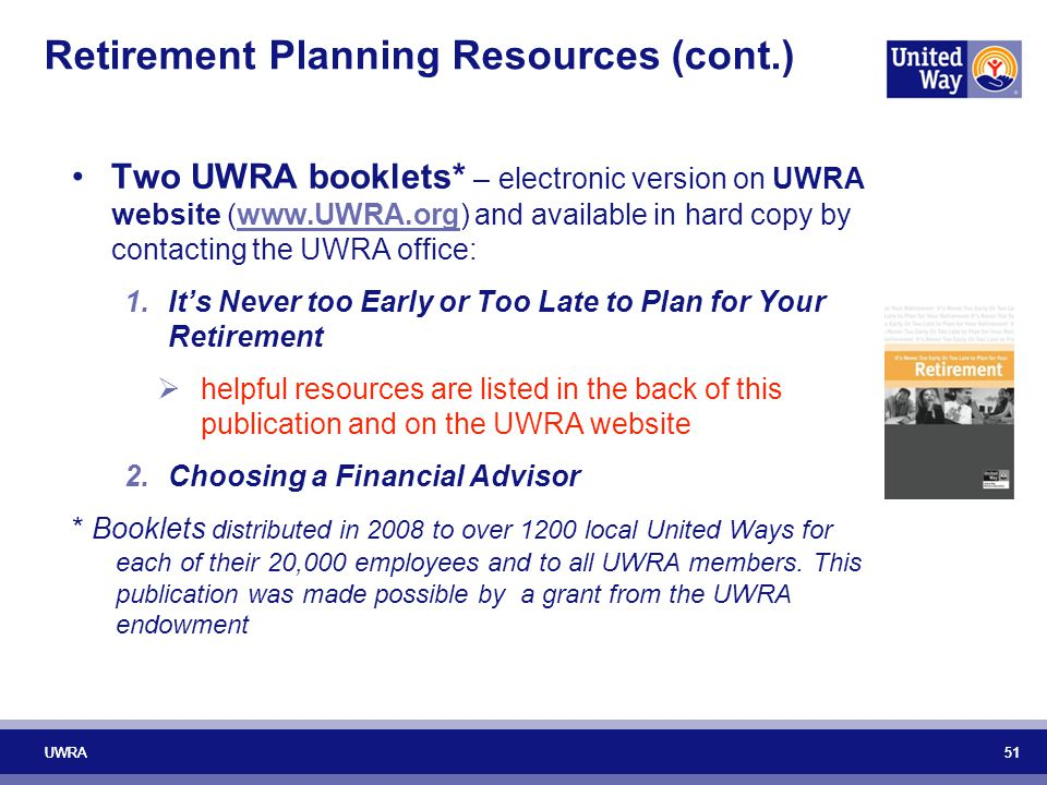 Retirement Planning Resources (cont.)