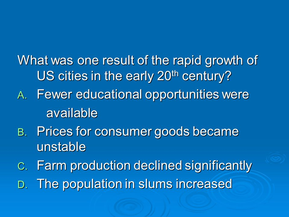 What was one result of the rapid growth of US cities in the early 20th century