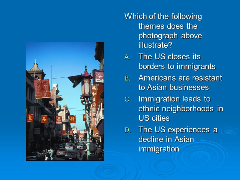 Which of the following themes does the photograph above illustrate