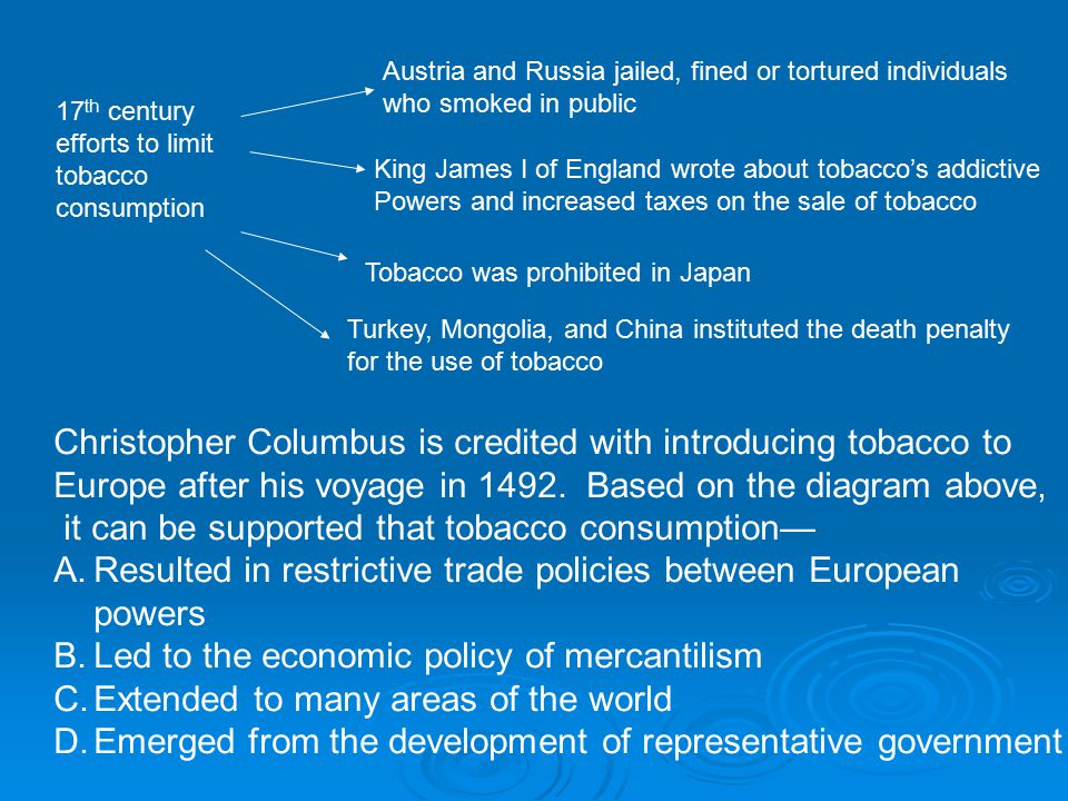 Christopher Columbus is credited with introducing tobacco to