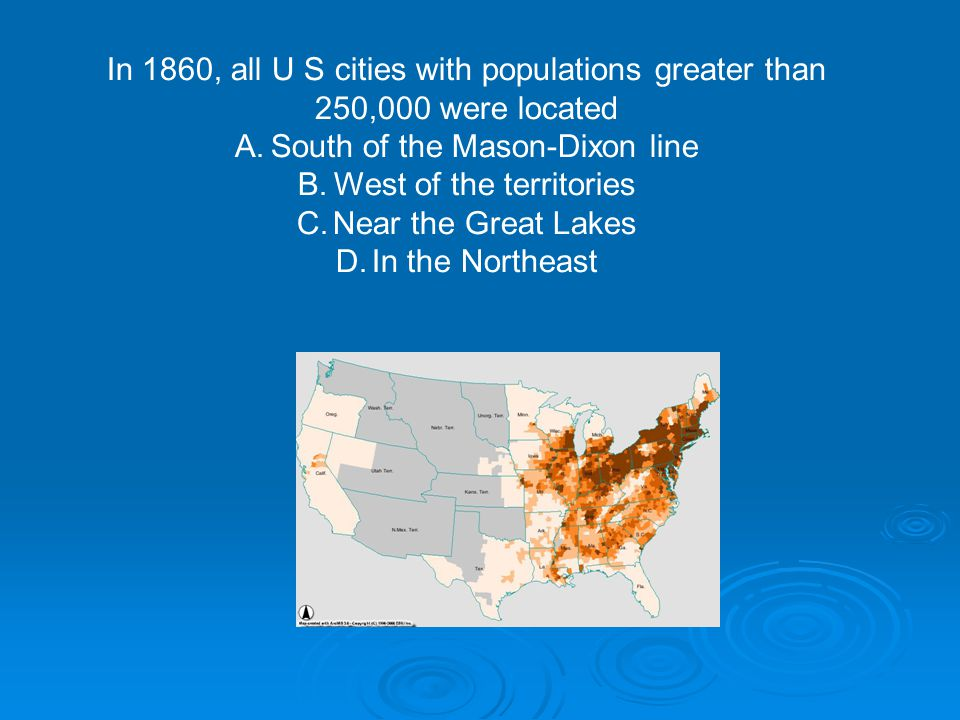 In 1860, all U S cities with populations greater than