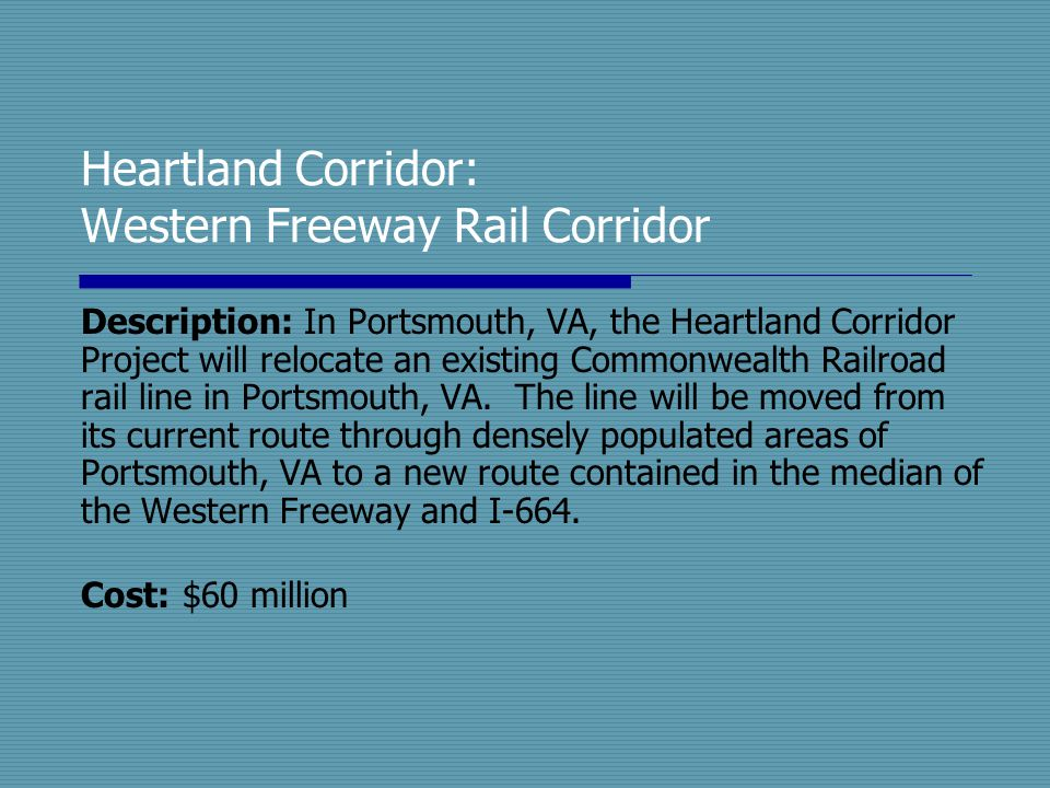 Heartland Corridor: Western Freeway Rail Corridor