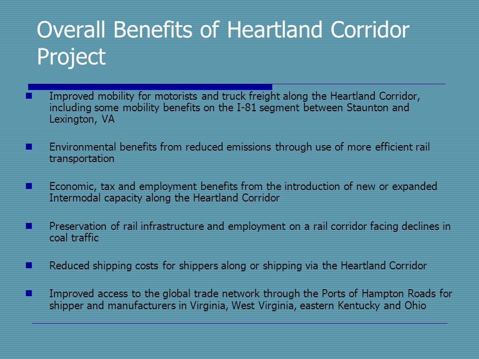 Overall Benefits of Heartland Corridor Project