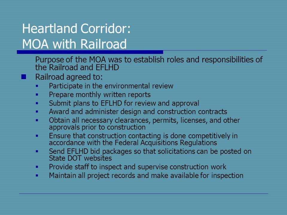 Heartland Corridor: MOA with Railroad