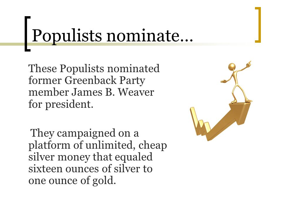 Populists nominate… These Populists nominated former Greenback Party member James B. Weaver for president.