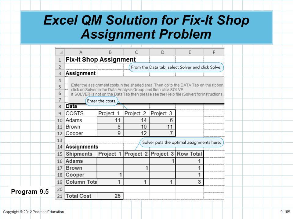 Excel QM Solution for Fix-It Shop Assignment Problem