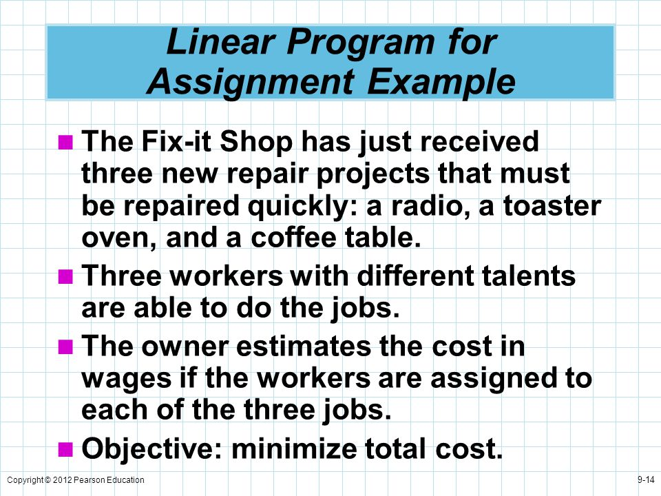 Linear Program for Assignment Example