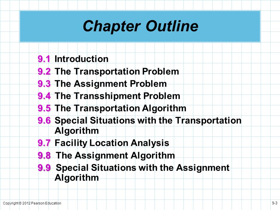 Chapter Outline 9.1 Introduction 9.2 The Transportation Problem