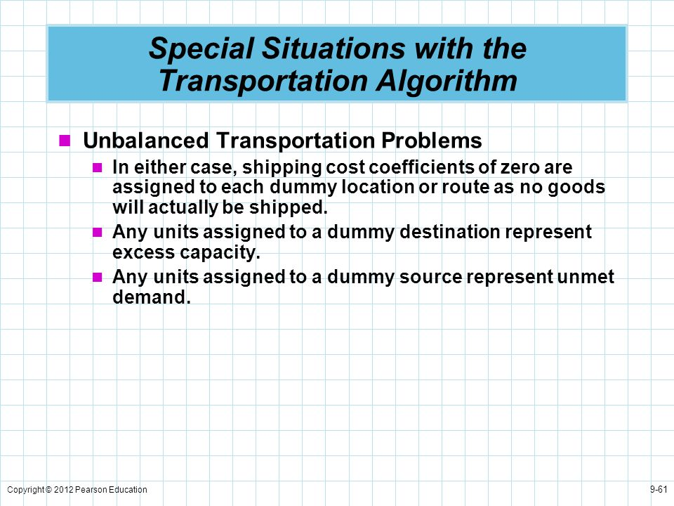 Special Situations with the Transportation Algorithm