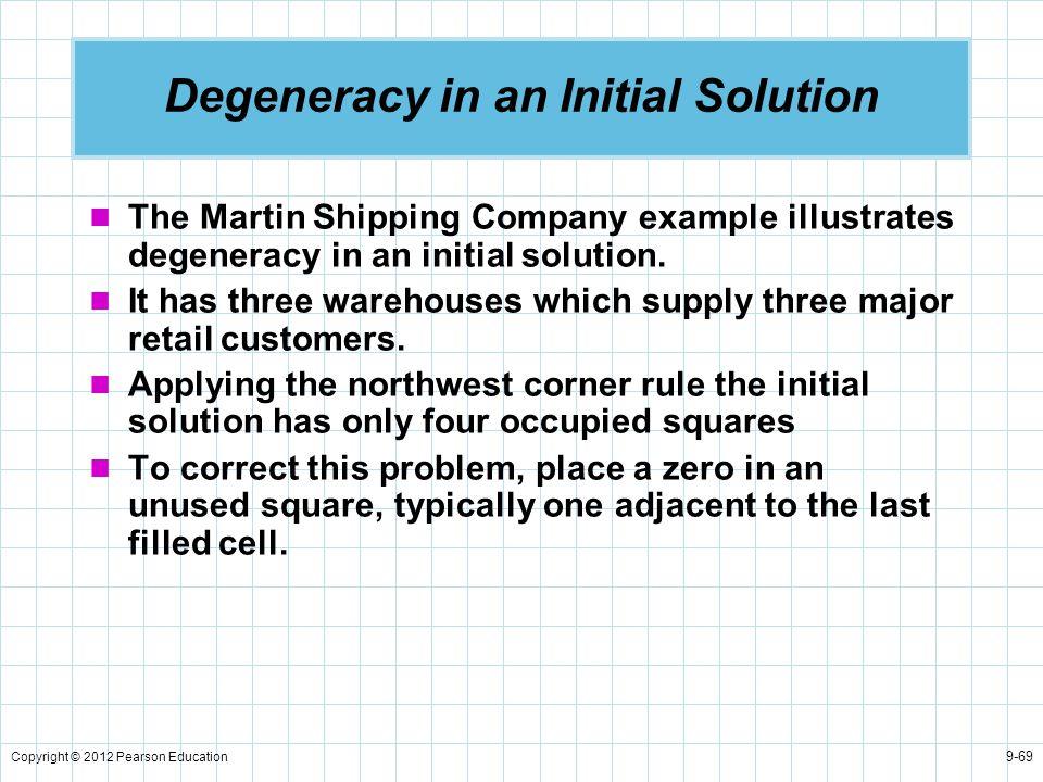 Degeneracy in an Initial Solution