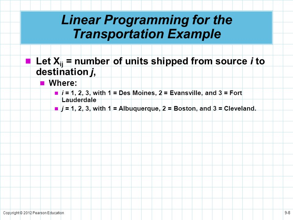 Linear Programming for the Transportation Example