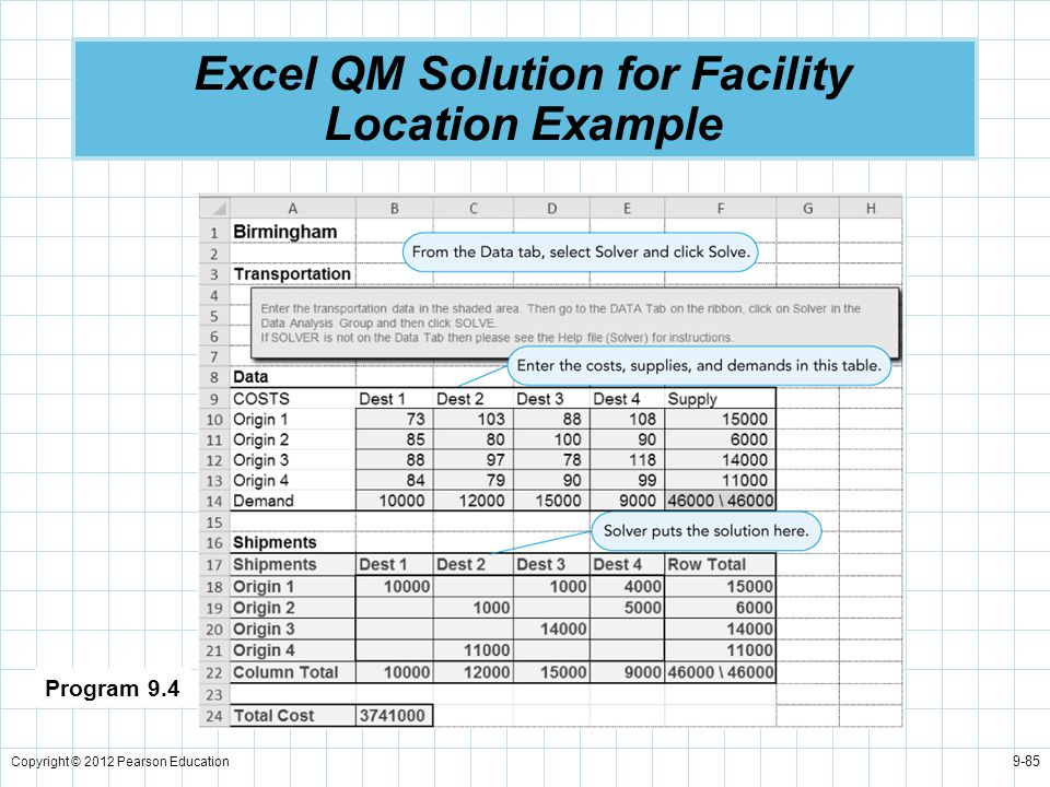 Excel QM Solution for Facility Location Example