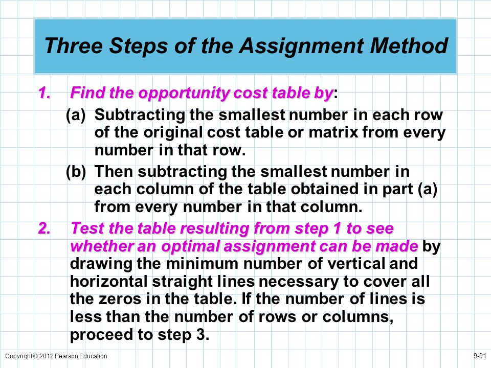 Three Steps of the Assignment Method