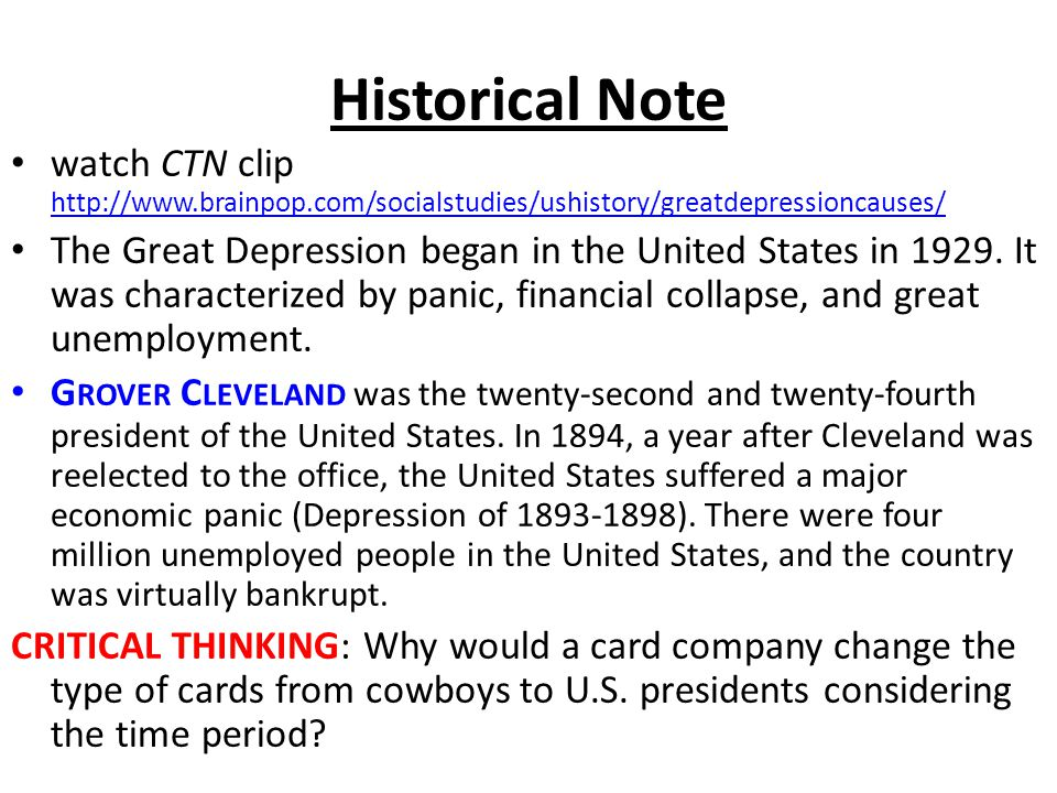 Historical Note watch CTN clip http://www.brainpop.com/socialstudies/ushistory/greatdepressioncauses/