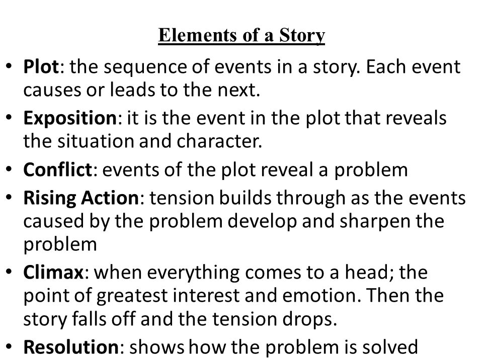 Conflict: events of the plot reveal a problem