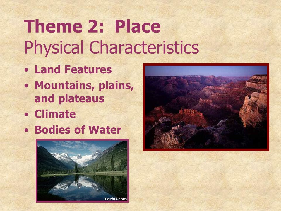 Theme 2: Place Physical Characteristics