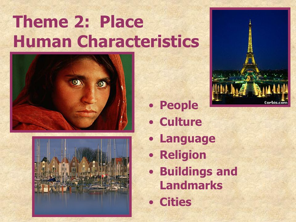 Theme 2: Place Human Characteristics