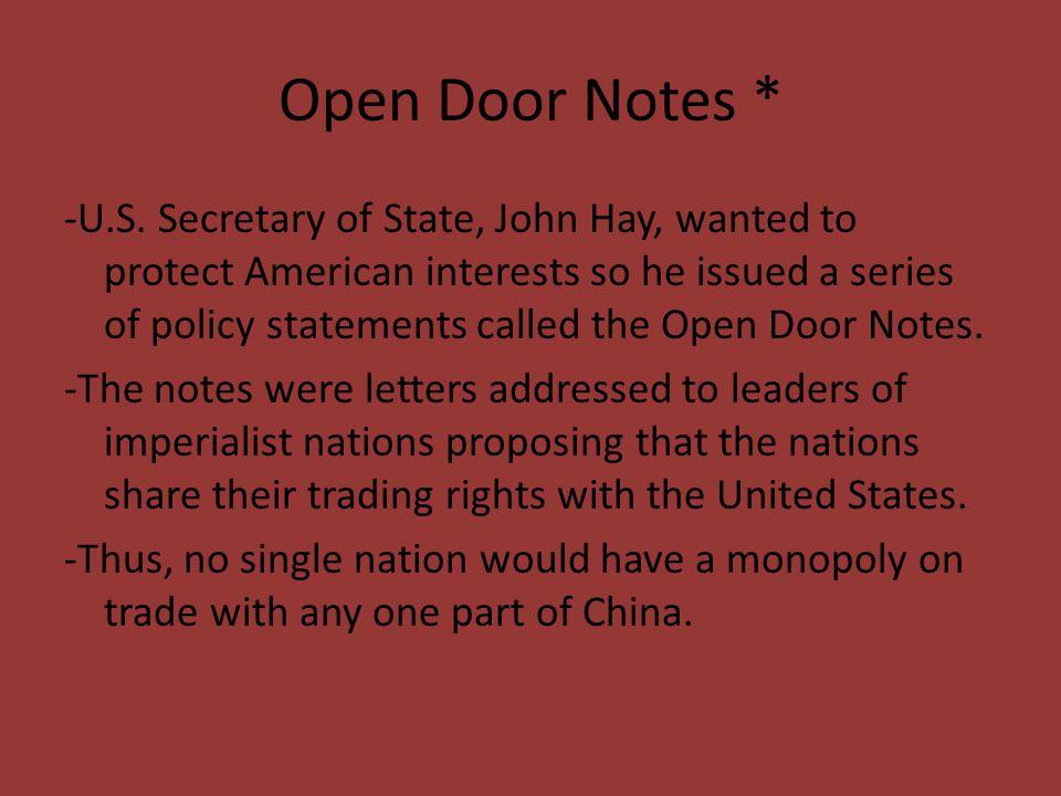 Open Door Notes *