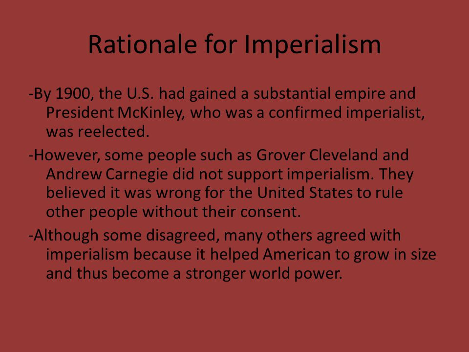Rationale for Imperialism