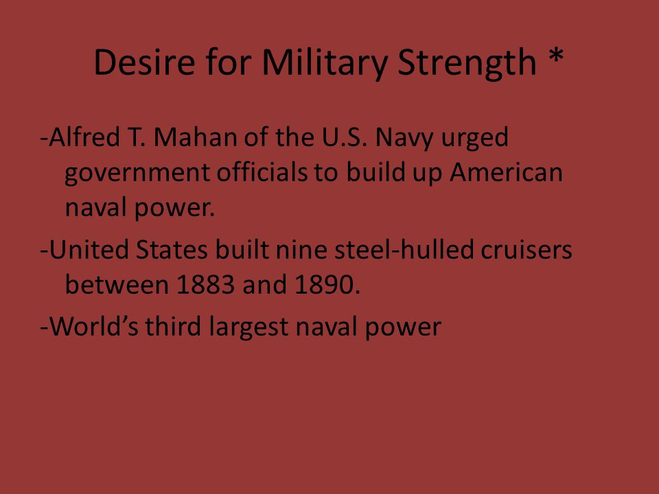 Desire for Military Strength *