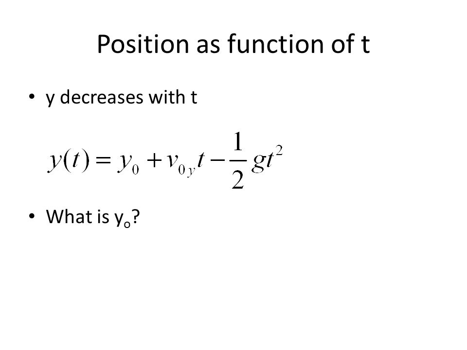 Position as function of t