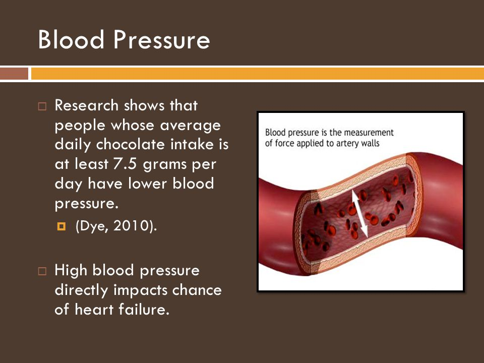 Blood Pressure Research shows that people whose average daily chocolate intake is at least 7.5 grams per day have lower blood pressure.
