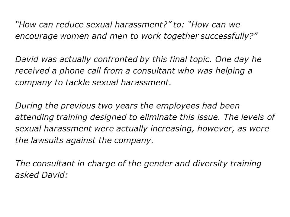 How can reduce sexual harassment