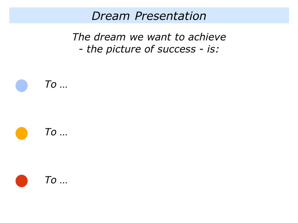 The dream we want to achieve - the picture of success - is: