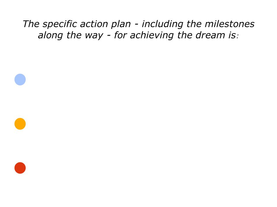 The specific action plan - including the milestones along the way - for achieving the dream is: