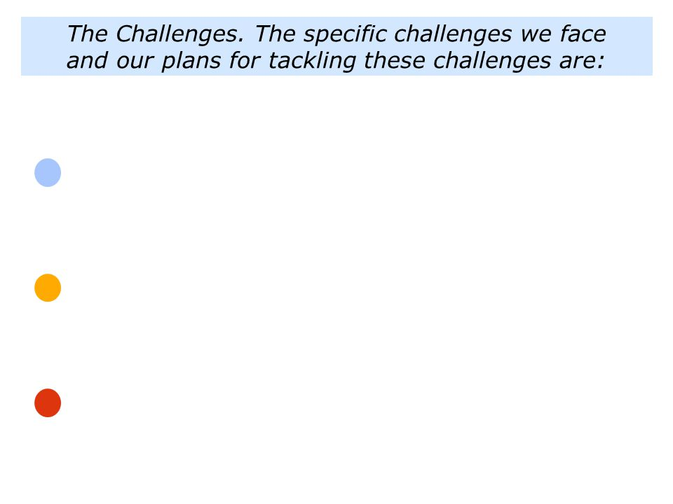 The Challenges. The specific challenges we face