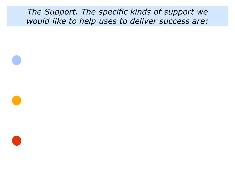 The Support. The specific kinds of support we would like to help uses to deliver success are: