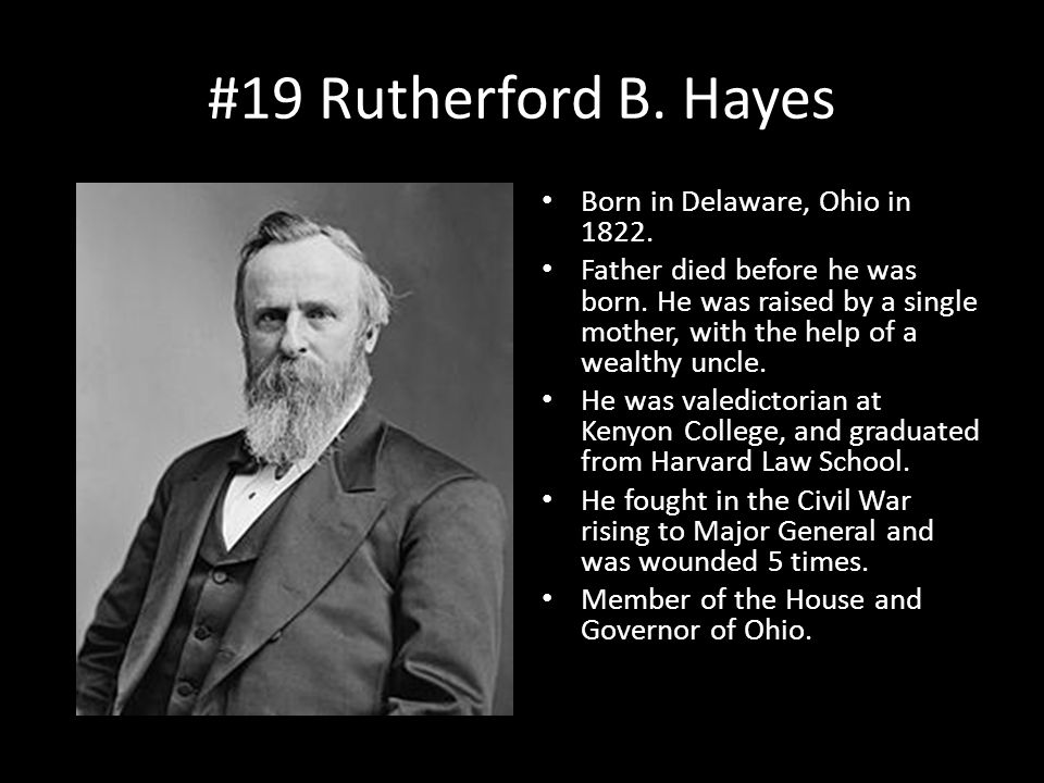 #19 Rutherford B. Hayes Born in Delaware, Ohio in 1822.