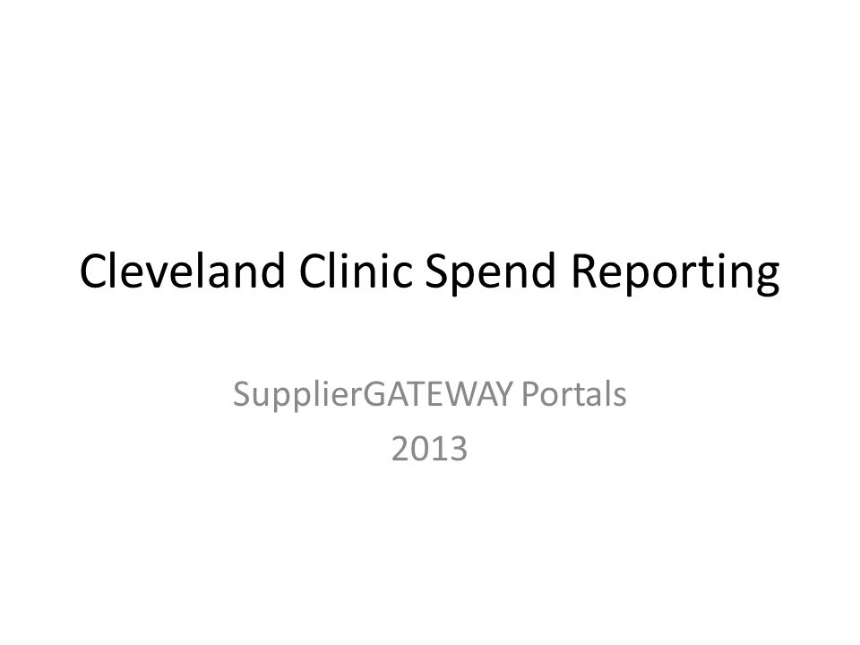 Cleveland Clinic Spend Reporting