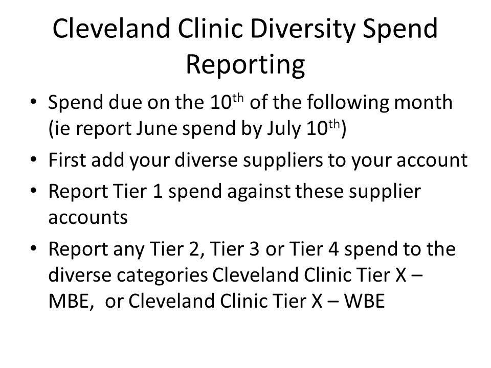 Cleveland Clinic Diversity Spend Reporting