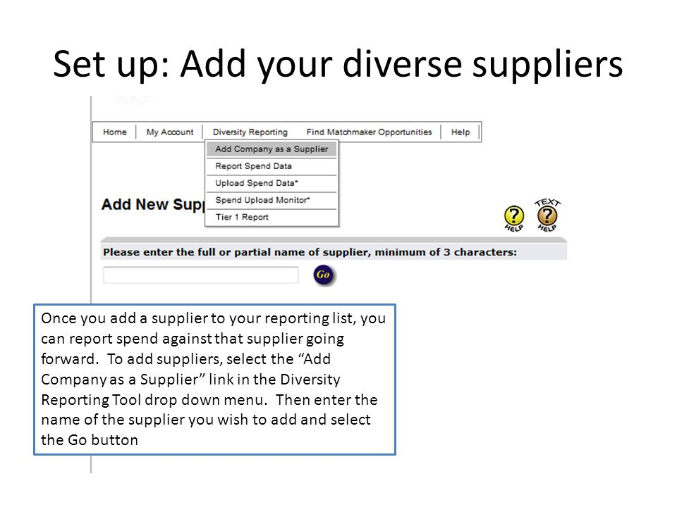 Set up: Add your diverse suppliers