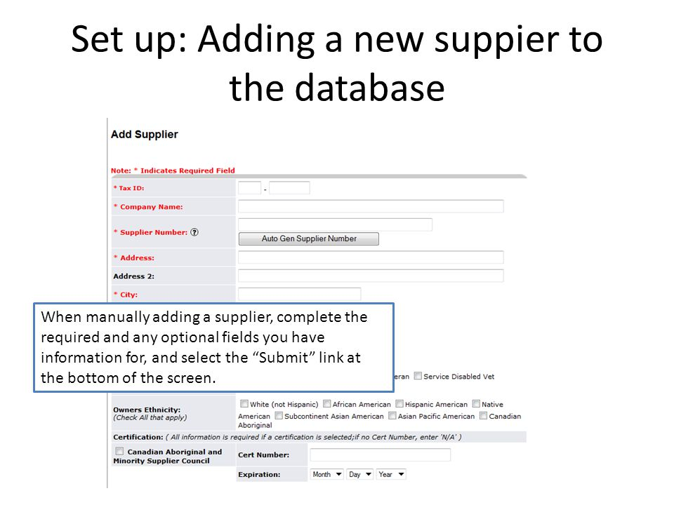 Set up: Adding a new suppier to the database