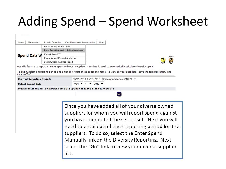Adding Spend – Spend Worksheet